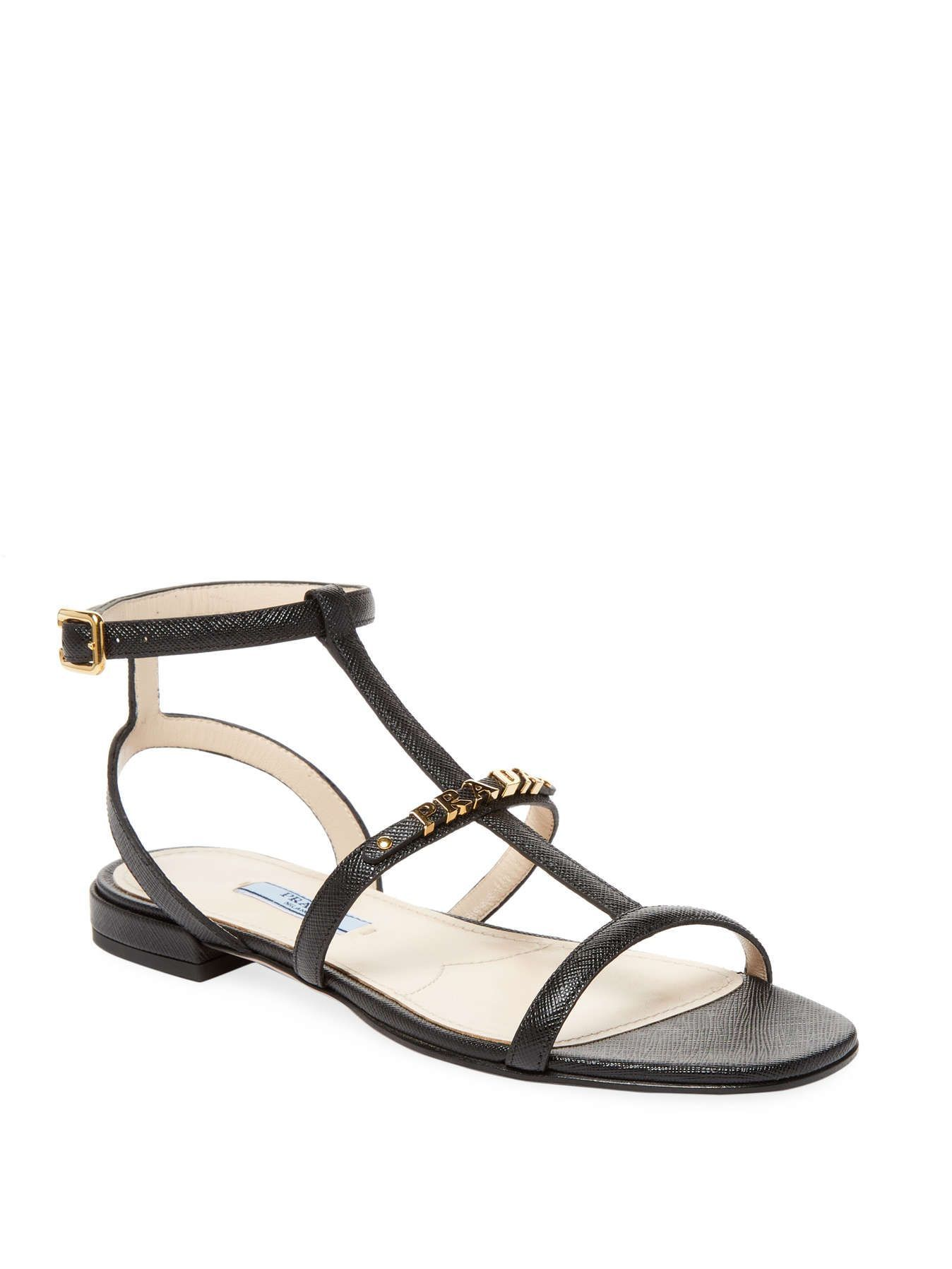 e8d7d206eb1 Prada Leather Low Heel Sandal Low heel sandal Leather upper Open toe  Cut-out details