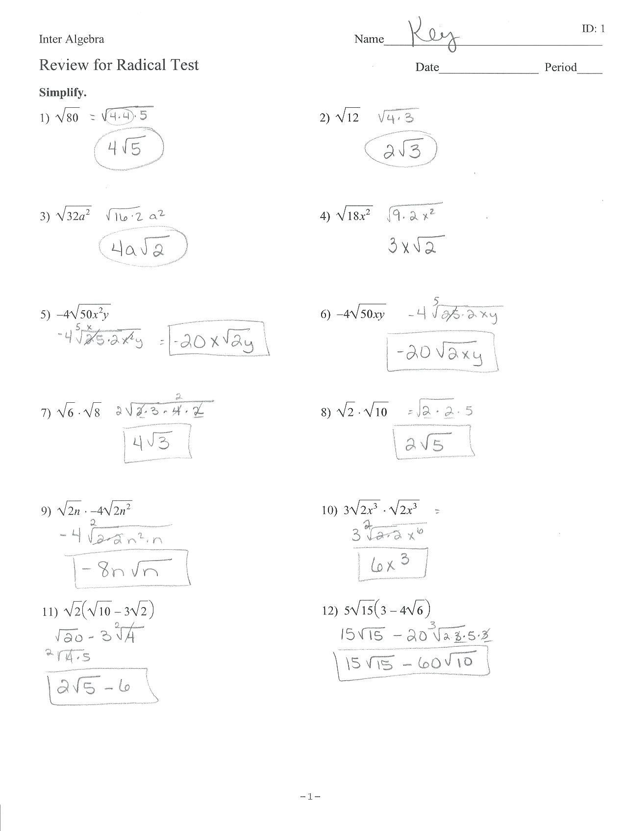 Simplifying Radicals Practice Worksheet Simplifying