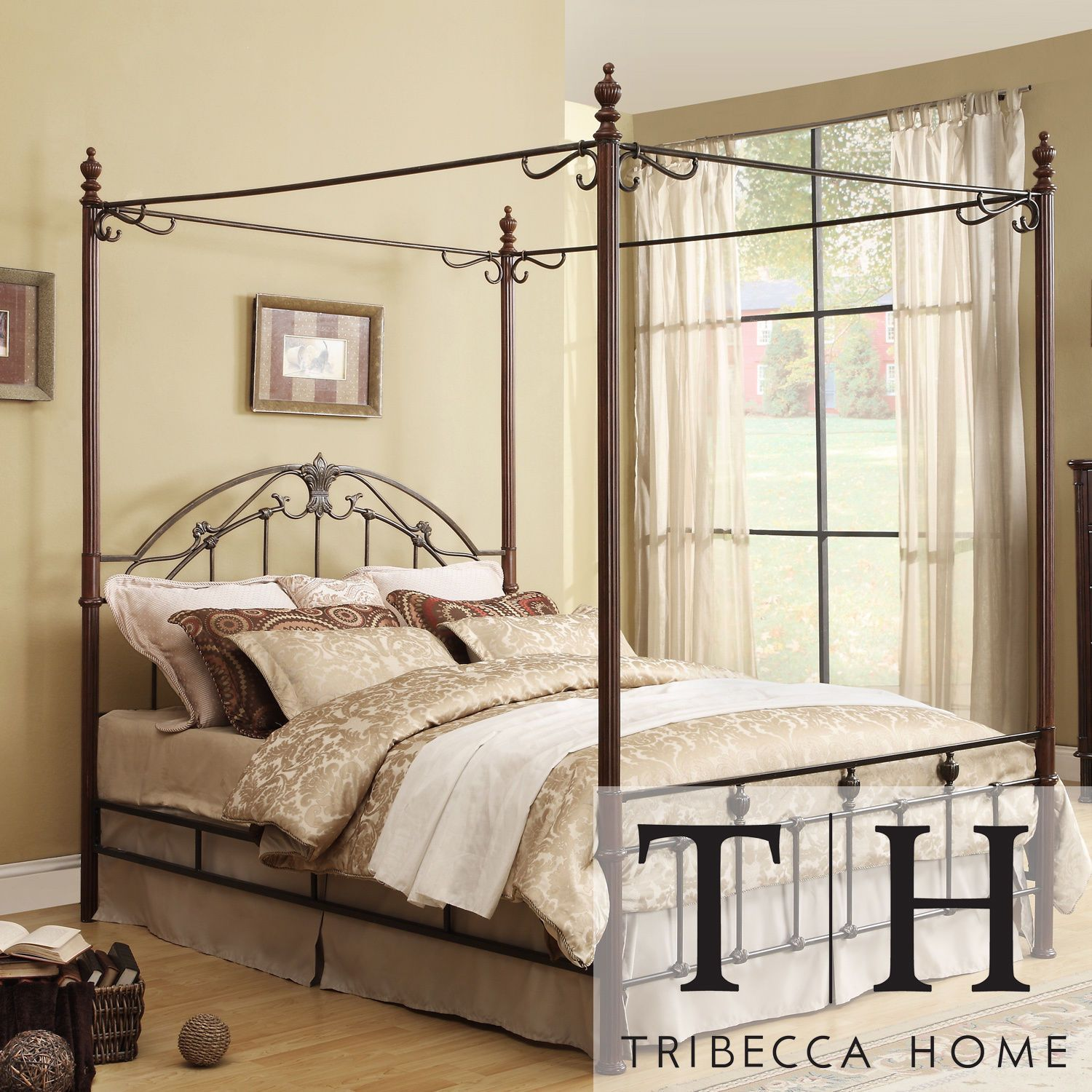 Scroll Bronze Iron Canopy Wood King Size Bed Modern Traditional Platform Home Metal Canopy Bed King Size Canopy Bed Queen Size Canopy Bed
