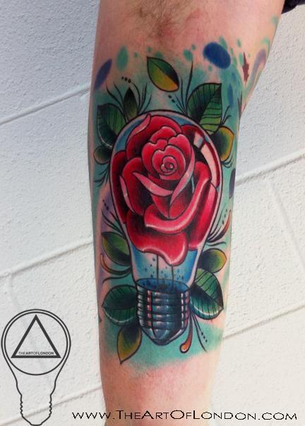 Light Bulb Rose Tattoo Design