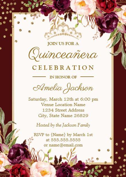 Quinceanera Burgundy Gold Floral Sparkle Invite Quinceanera