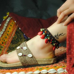 anklets bohemian women symbolic qimg main the girls bracelets vintage anklet is beads wearing ankle of sale string quora meaning for what