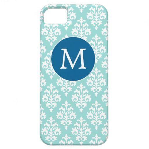Light Aqua and Blue Monogram Damask Pattern iPhone 5 Cover