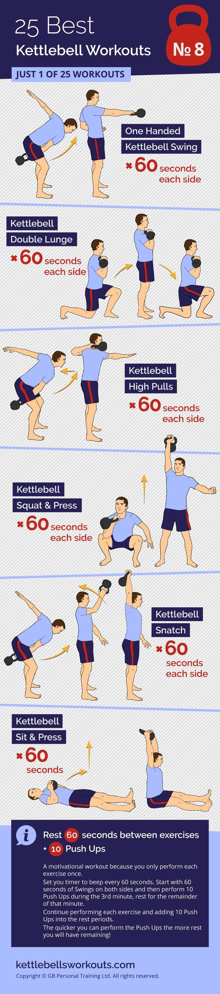 An excellent kettlebell workout that combines kettlebell exercises with push ups during the rest per...