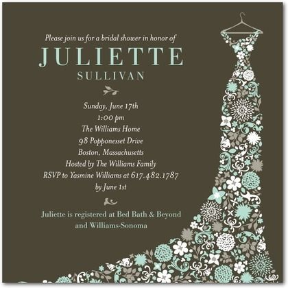 Garden Gowned Signature White Bridal Shower Invitations in Sea