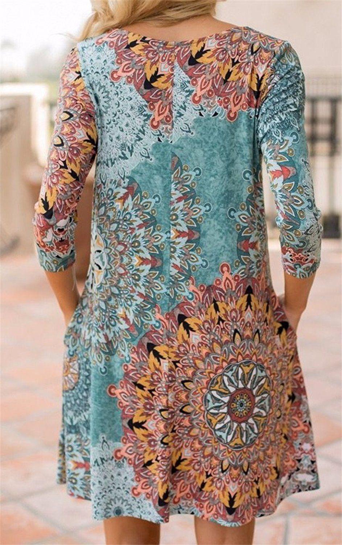 Etcyy womenus long sleeve floral printed casual swing tshirt dress