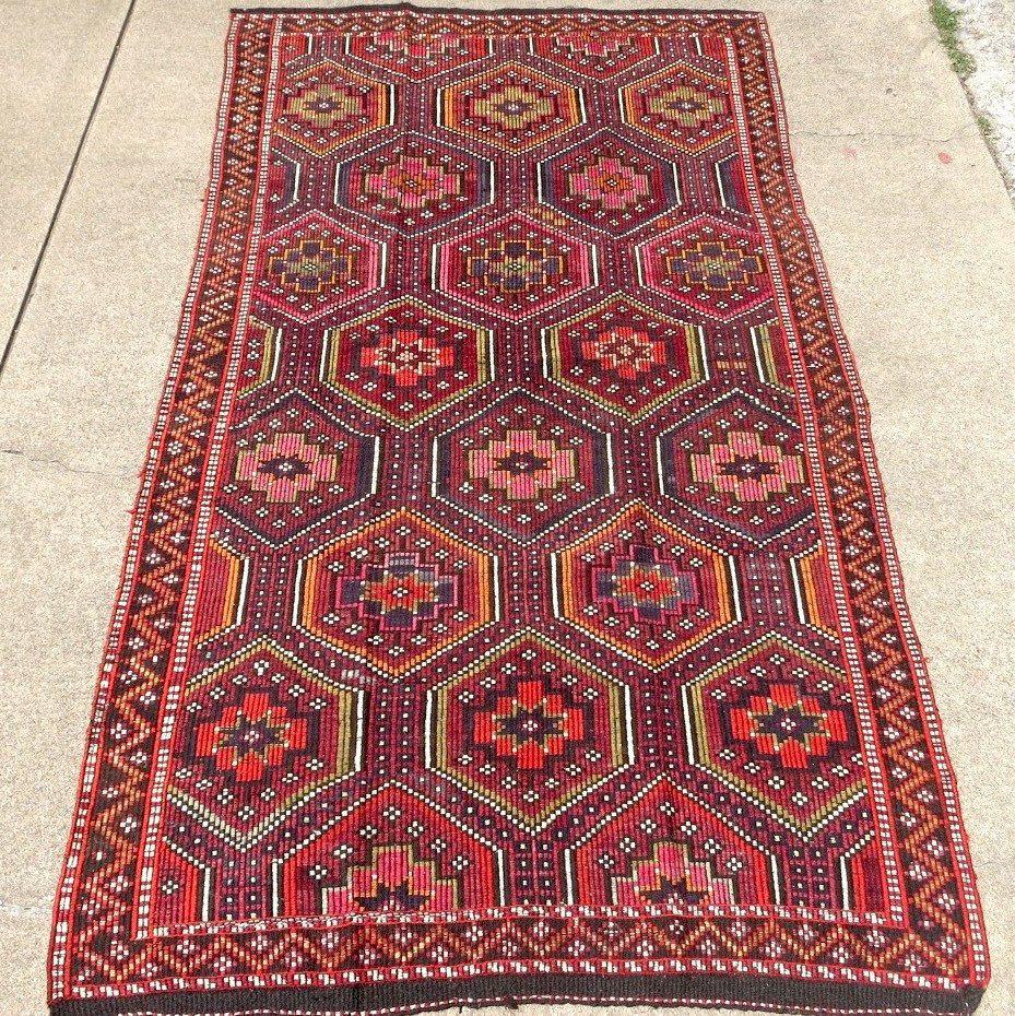 colorful bohemian style cicim kilim geometric rug rug decor rustic wood floors on boho chic kitchen rugs id=64616