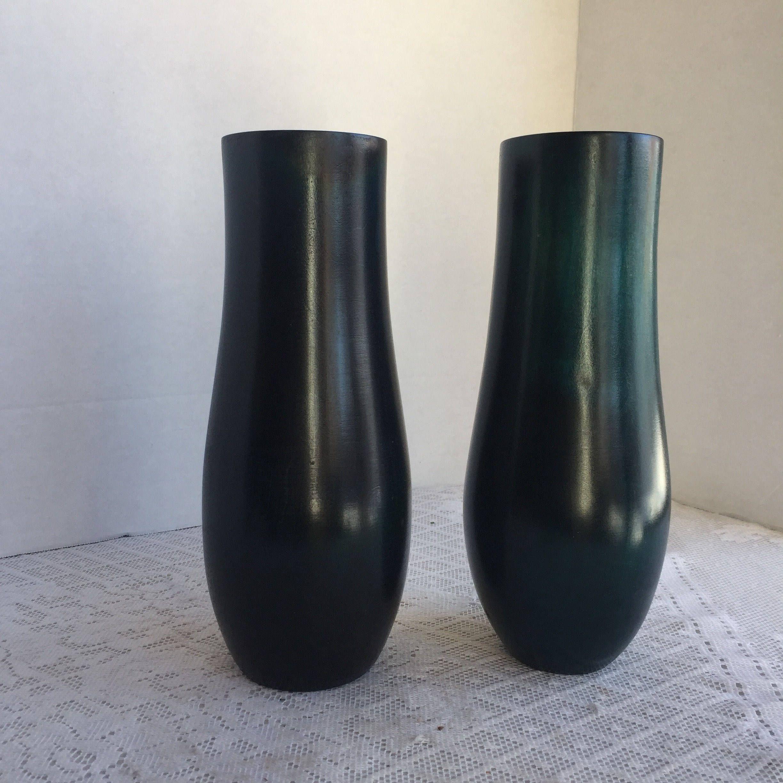 Vintage blue wood vases wooden vase set of two turned wood vases reviewsmspy