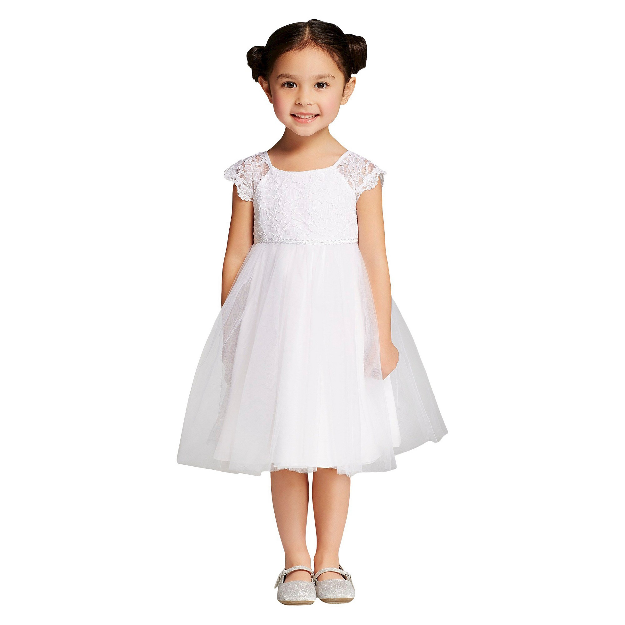 8a2673a030c2d Toddler Girls' Lace and Tulle Flower Girl Dress Tevolio - White 2T ...