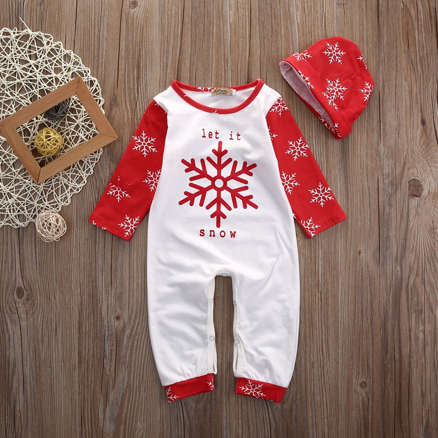 babys long sleeve snowflake christmas footie bodysuit romper with hat 2pcs outfits 0 3