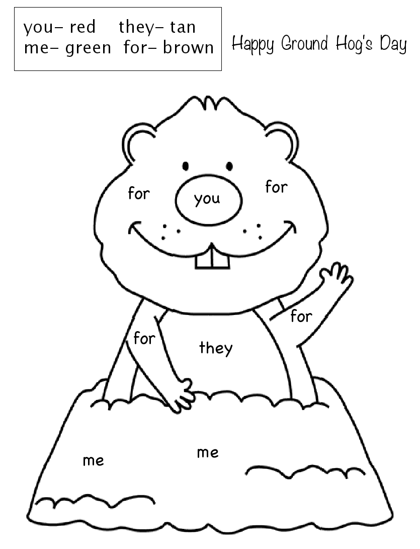 Ground Hogs day Color by sight word .pdf   Kindergarten groundhog day [ 1091 x 835 Pixel ]