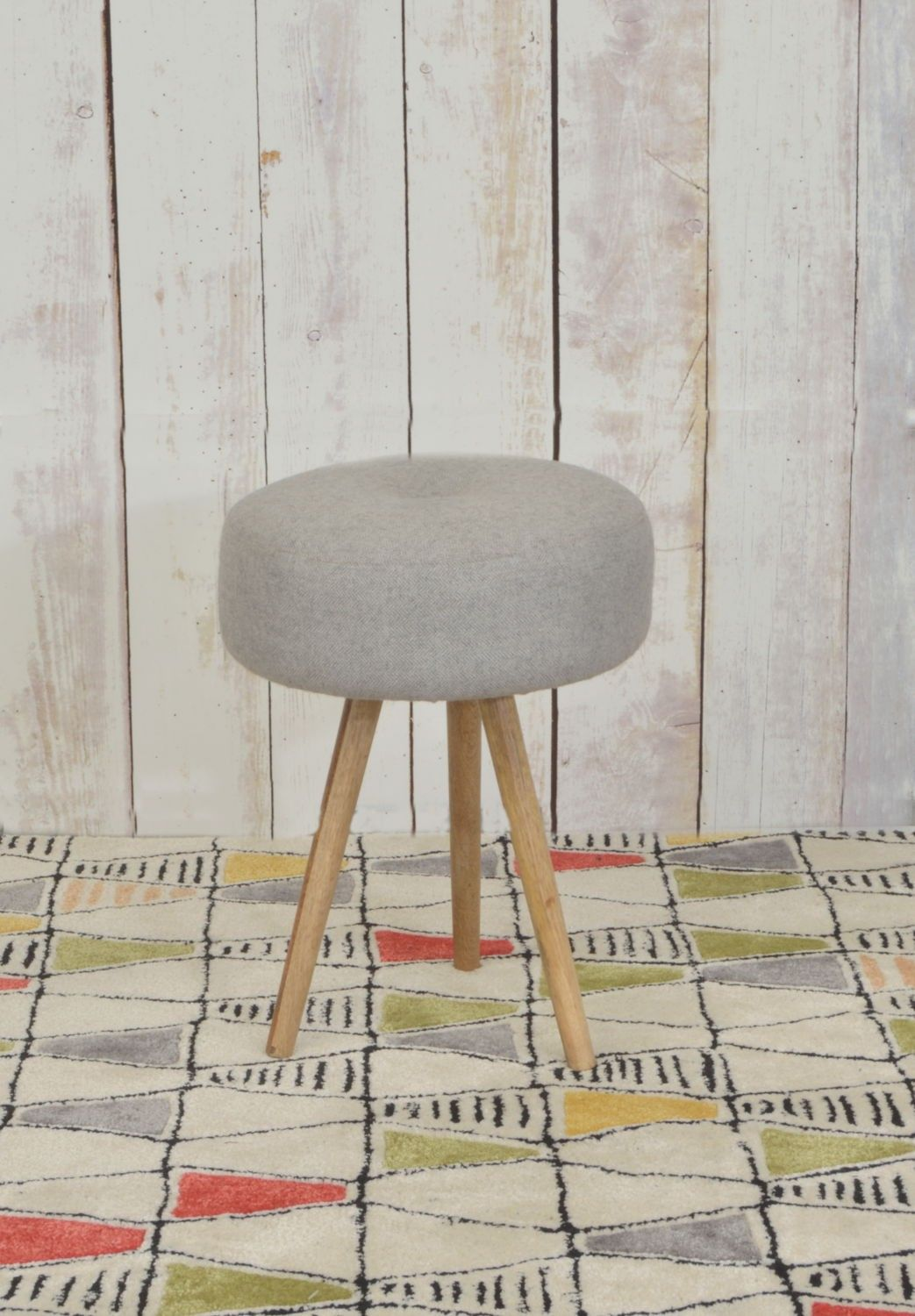 Upholstered Round Stool With Three Solid Mango Wood Legs Round