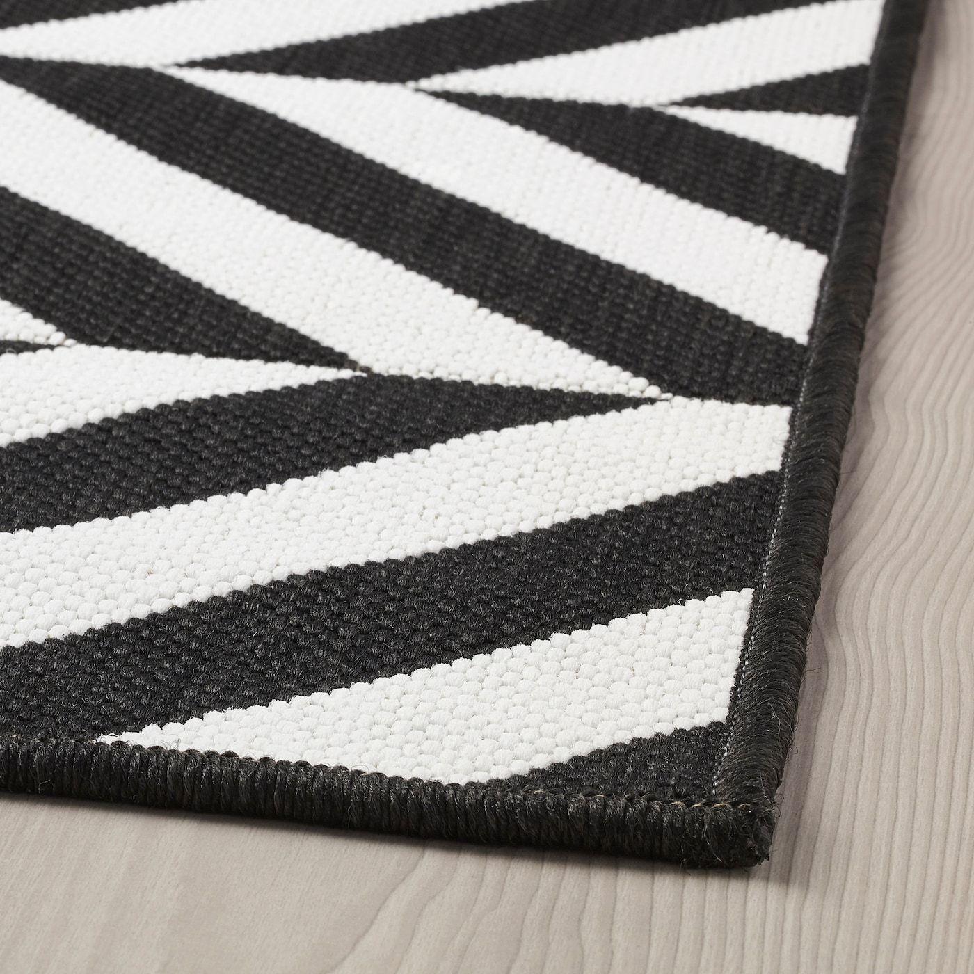 Skarrild Rug Flatwoven In Outdoor White Black 5 3