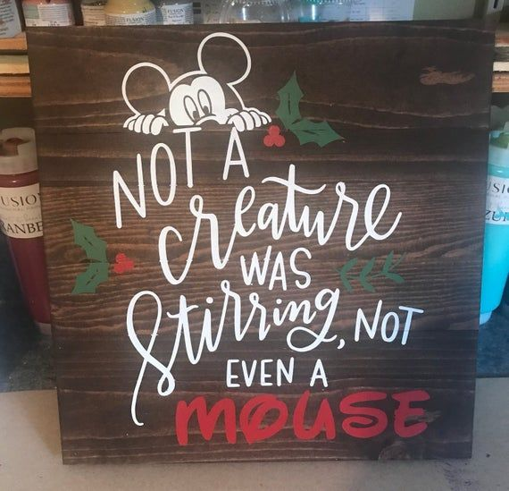 Disneys Mickey Mouse in the Night Before Christmas not a creature was stirring hand made for your Disney or holiday decor
