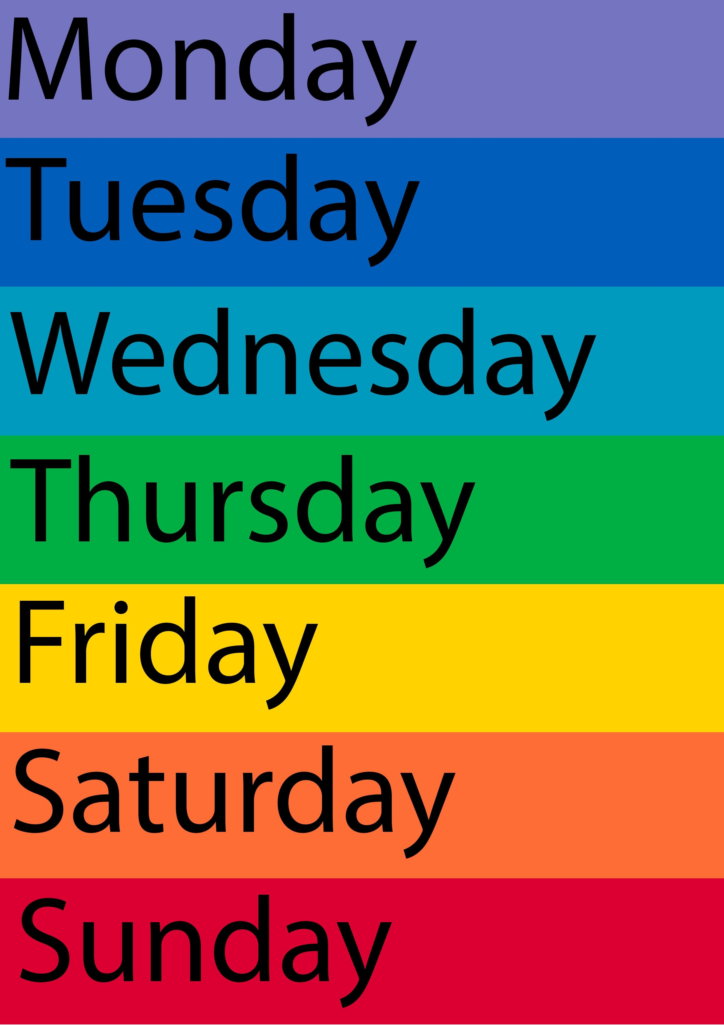 Pin By Carla Parks On Days Of The Week