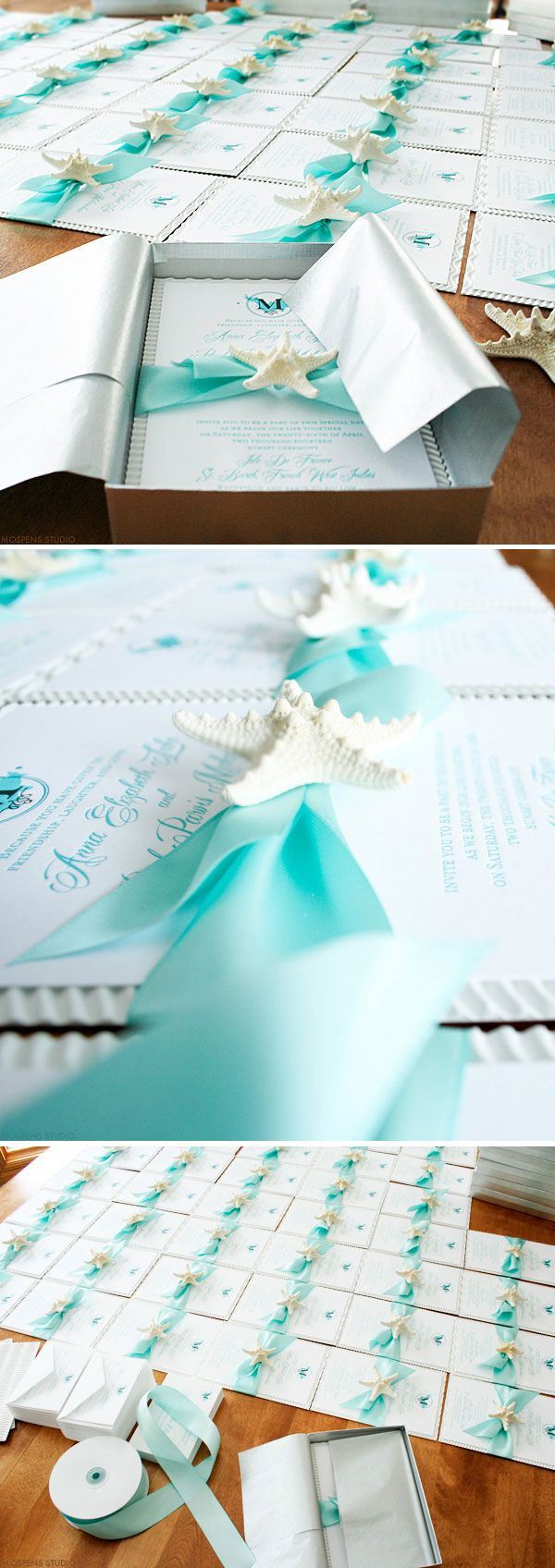 Beautiful Beach Wedding Invitations   The Sea Worthy Design Features  Original Art, Ribbon,
