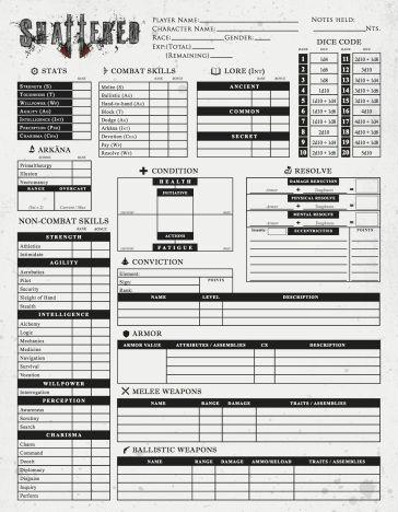 Derek G Poole Concept Designer Rpg Character Sheet Character Sheet Rpg Character