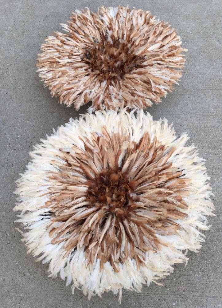 32 African Traditional 2 brown & Brown,White Feather Head dress/ JuJu hat £311.83 (BIN)
