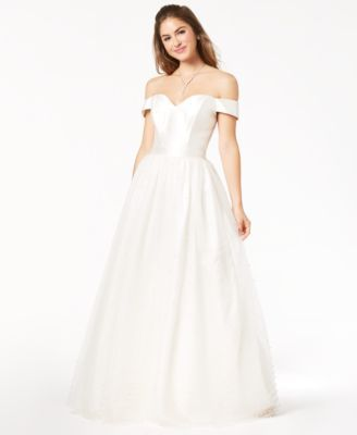 83667c9a6 Say Yes to the Prom Juniors' Imitation-Pearl-Embellished Gown, Created for  Macy's - White 11/12