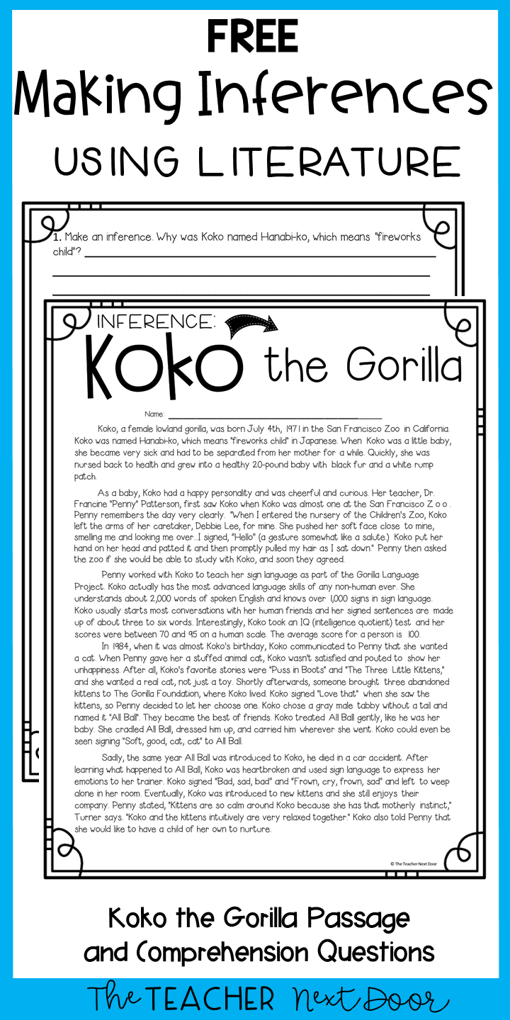 This FREE Making Inferences passage will help your 4th and 5th grade students practice this tricky reading skill. The passage is also included in my Emergency Substitute Plans for 4th and 5th Grades which includes an entire day's worth of animal themed lesson plans for every subject! #4thgrademakinginferences #5thgrademakinginferences #4thgradereading #5thgradereading