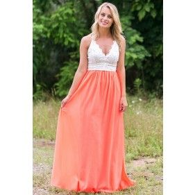 Neon Coral and Lace Maxi Dress, Cute Summer Maxi Dress | Style ...