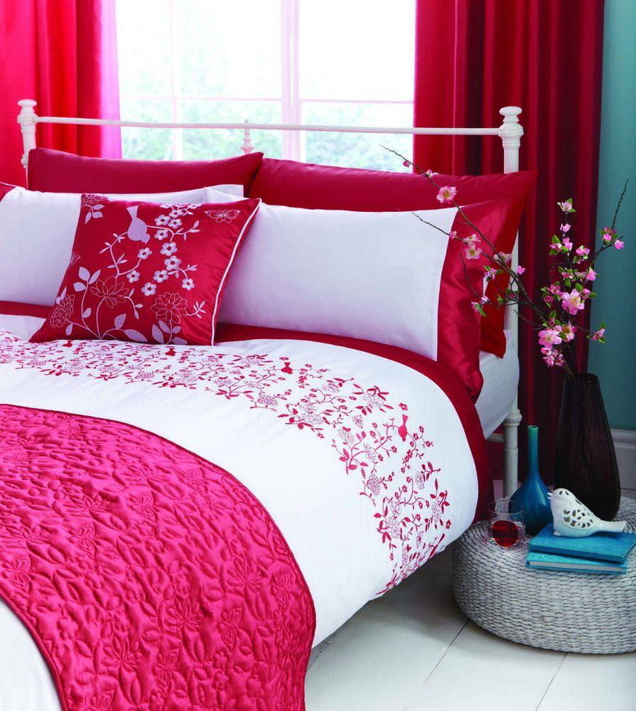 Hot pink bed sets - Kyoto Pink White Floral Duvet Cover Embroidered Bed Linen Bed Set