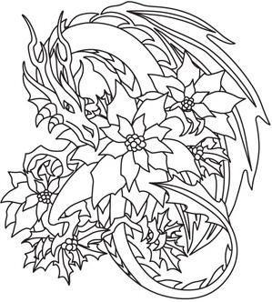 Christmas magic dragon  Coloring  Pinterest  Dragons Adult