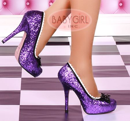 Purple Platform Glitter Princess Pumps :) too bad my fiancé would ...