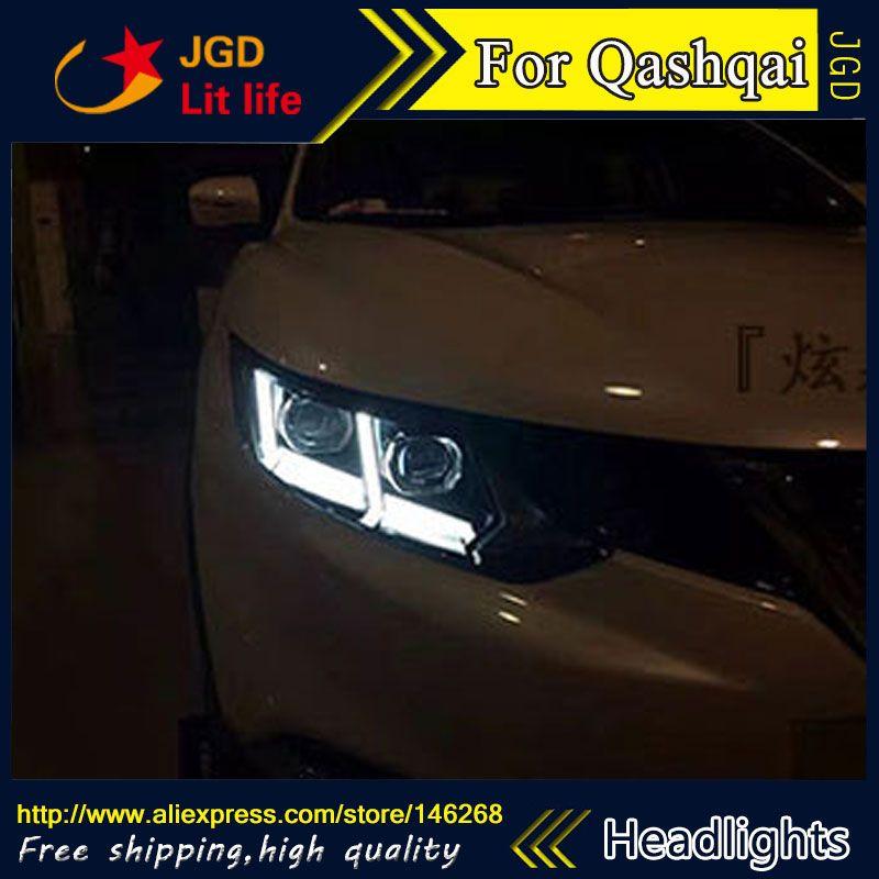 Free Shipping Car Styling Led Hid Rio Led Headlights Head Lamp Case For Nissan Qashqai 2016 Bi Xenon Lens Low Beam Nissan Qashqai Led Headlights Car