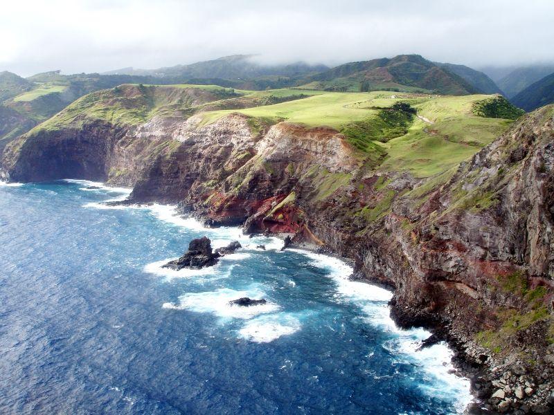 Rugged cliffs on island of Maui, Hawaiian chain