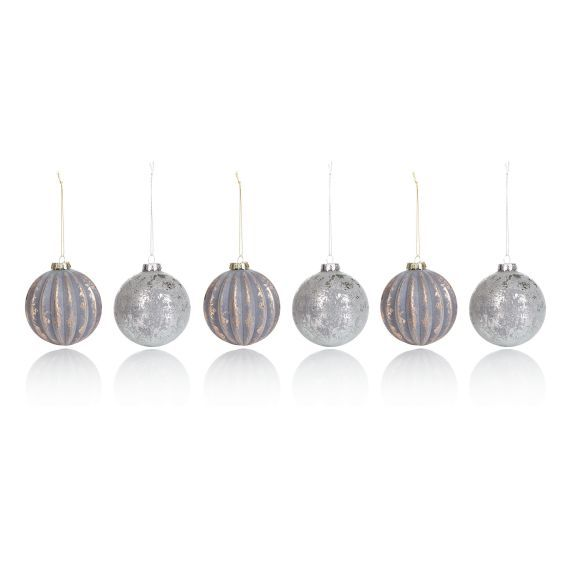 Weihnachtskugel-Set, 6-tlg, Handarbeit, rustikal, Used-Look, Glas
