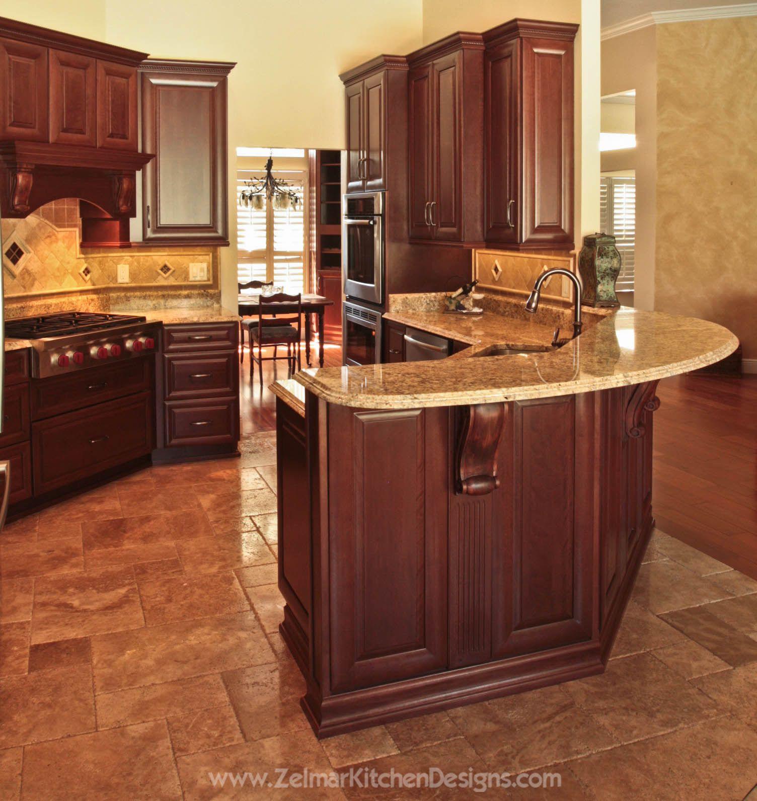 DREAM KITCHEN W/ Granite Countertops And Custom Cabinets. Visit Https://www.zelmarkitchendesigns