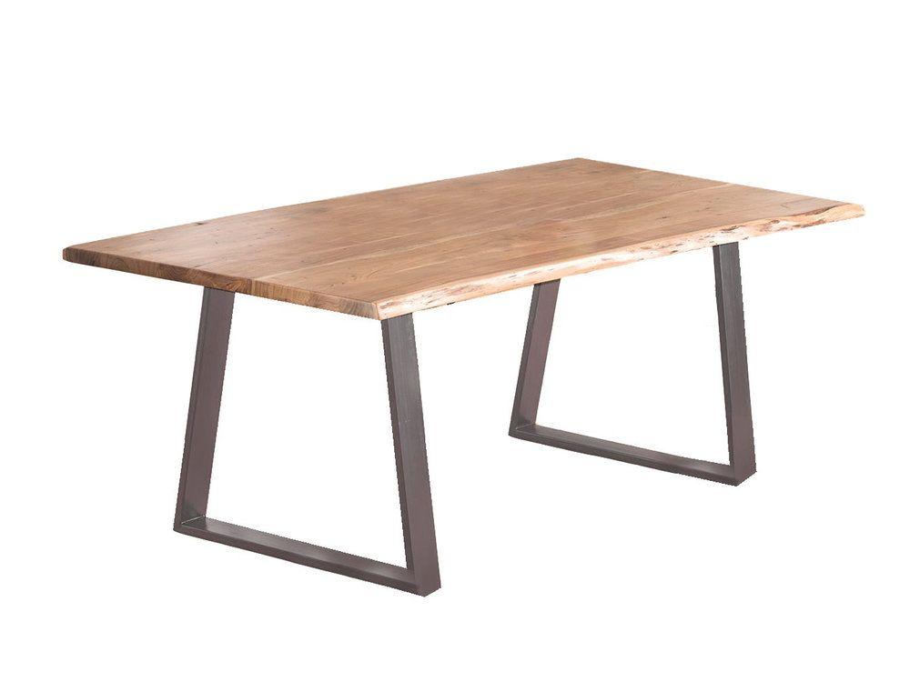 Table Pied Metal Et Bois Massif Naturel Zen Meuble House Meuble House Table Bois Brut Mobilier De Salon