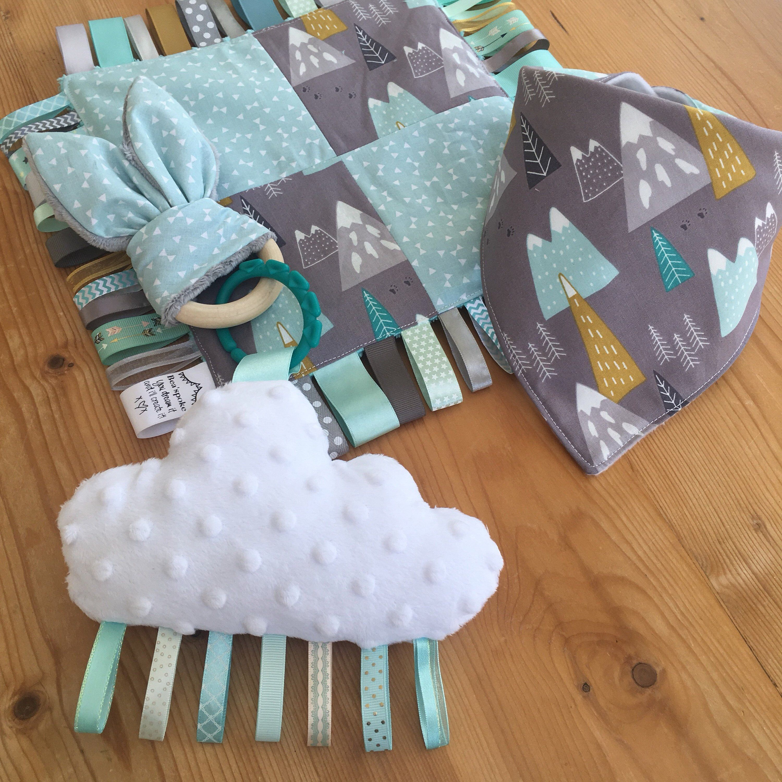 Baby Mint Mountains Ribbon Taggy Teether Quilt Boy Girl Aqua Grey Explorer  Wanderlust Adventure Map Cloud Nursery Teething Taggie Blanket Bib Gift Set 946fad952