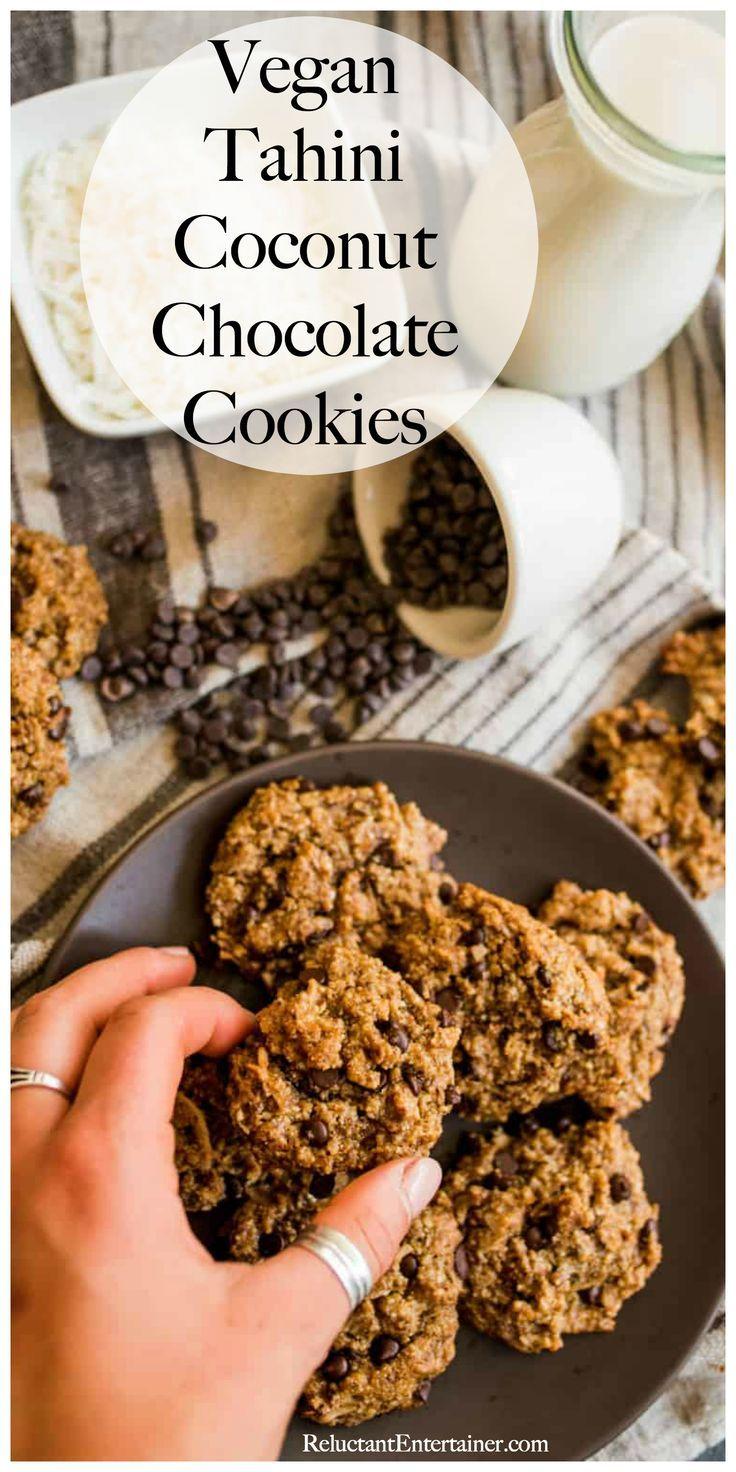 Healthy Vegan Tahini Coconut Chocolate Cookies