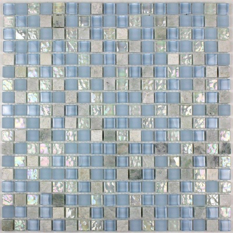 Carrelage Mosaique Verre Et Pierre Douche Italienne Plaque LAGON - Plaque mosaique salle de bain