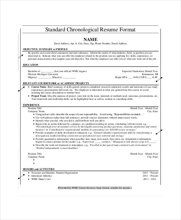 Chronological Resume templates , What Chronological Resume - chronological resume example