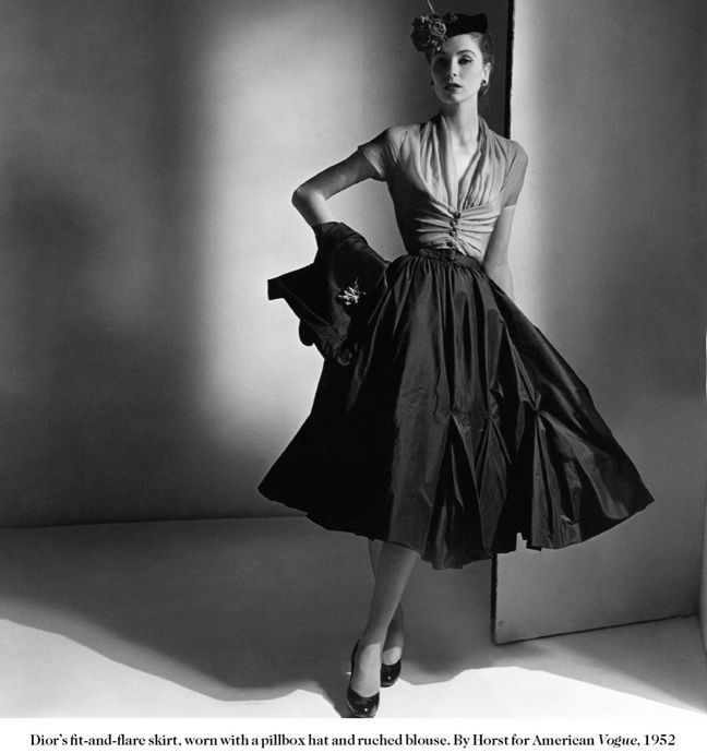 Dior's fit-and-flare skirt. Vogue,1952
