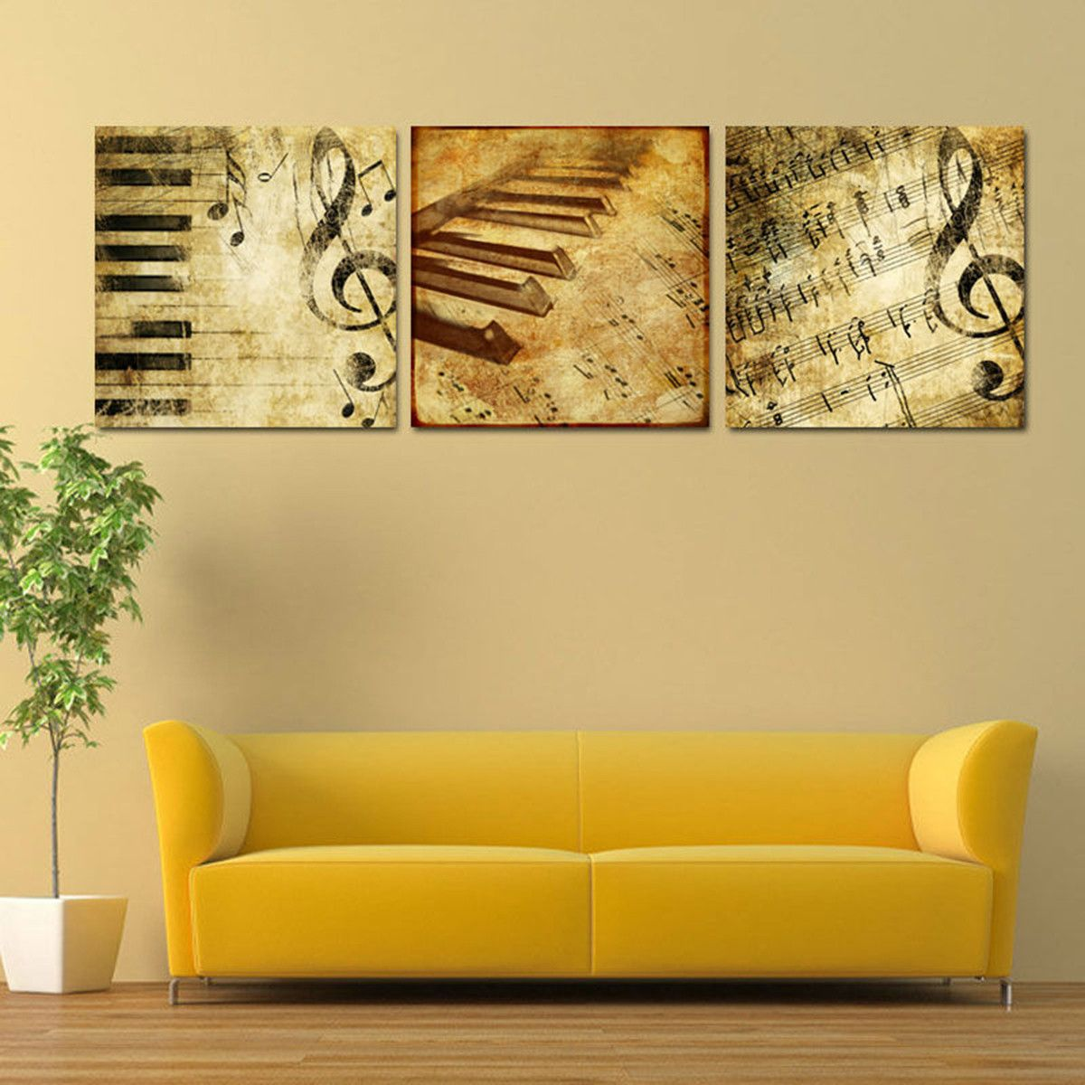 Limited Edition Classical Piano Music Notes 3 Piece Canvas ...