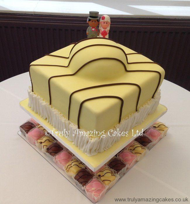 Giant fondant fancy wedding cake | Matt & Gem Wedding Cake Ideas ...