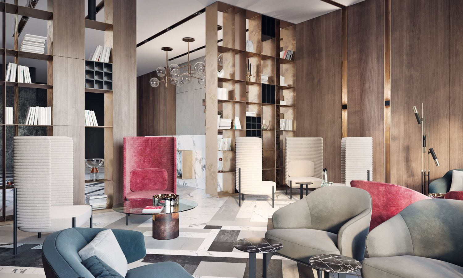Modern lobby in Moscow combines brass, marble and special lamps ...