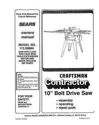 Manuals and Guides 171208: Craftsman 113.29884 Belt Drive