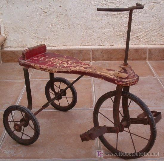 Referente eva triciclo antiguo 1930 aprox triciclo de - Juguetes antiguos de madera ...