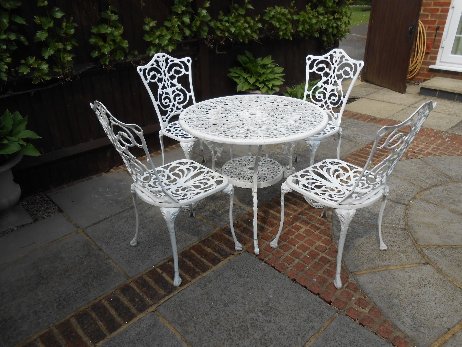 Garden Furniture White Metal metal garden furniture. galvanised four chairs and a table