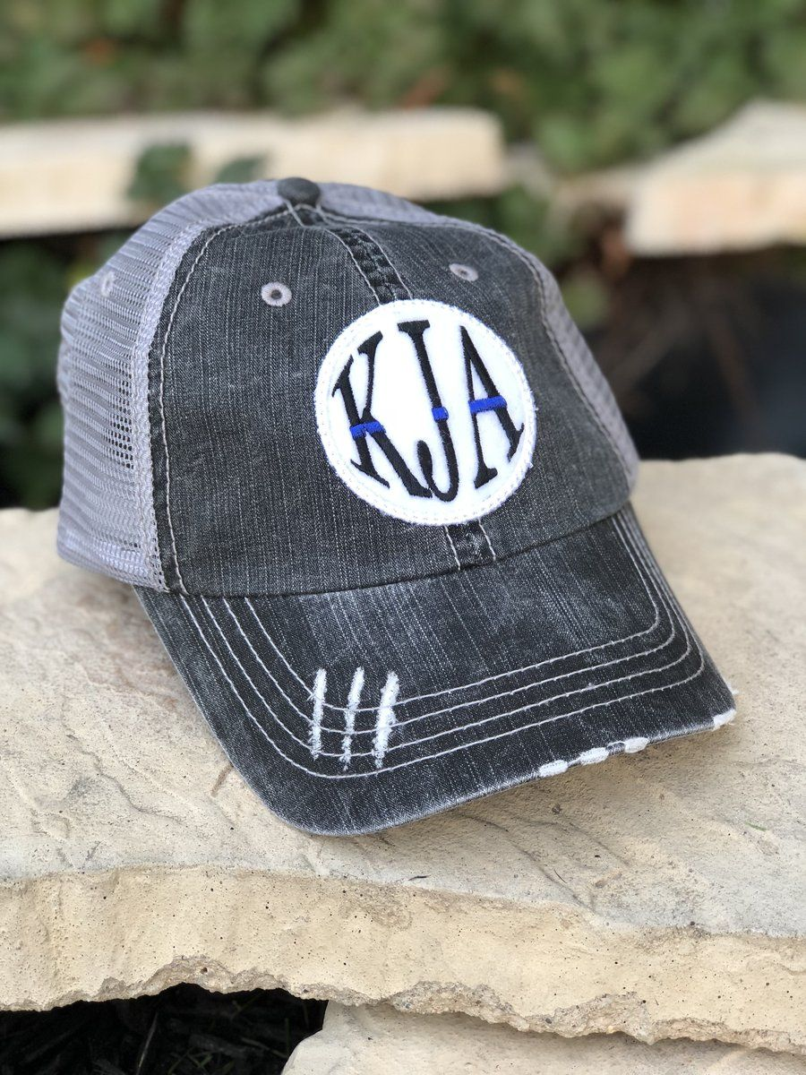 512da5bd8edbc Customize our popular trucker hat with your own monogram! This hat has the  thin blue