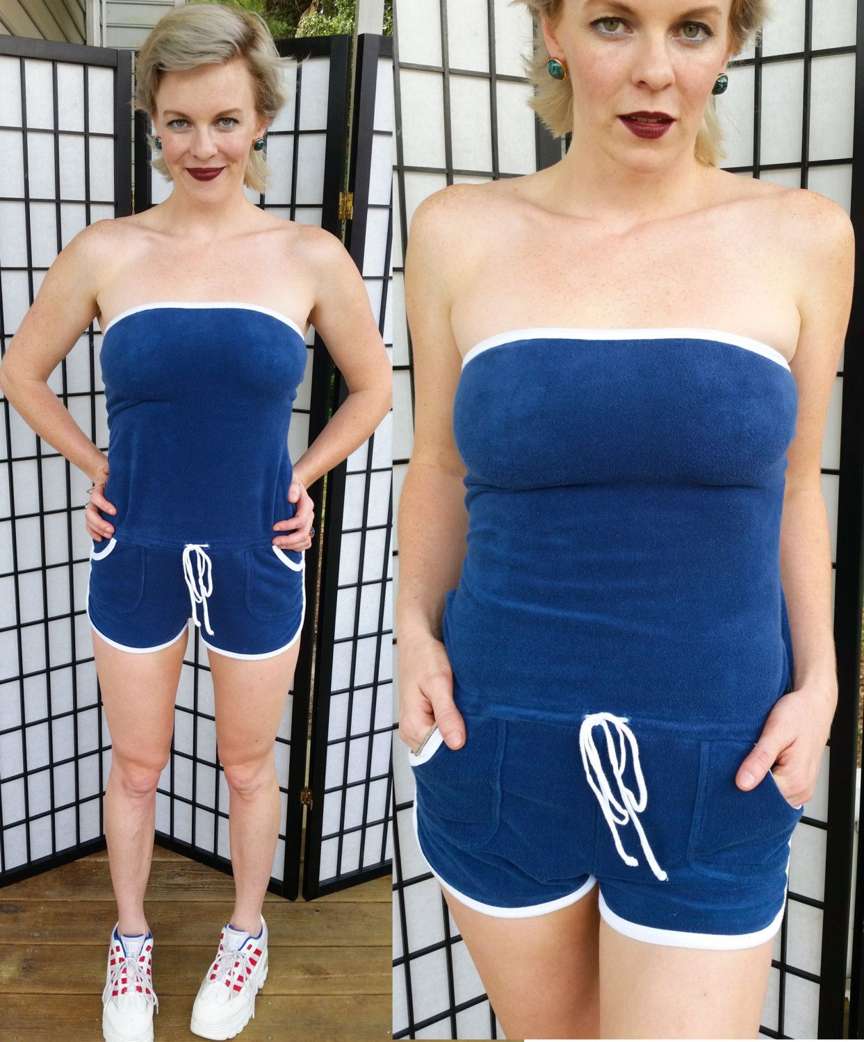 db7d865166c2 Vintage STRAPLESS Disco Romper Navy   White 90s-does-70s Jumpsuit Adorable  Roller Girl Booty Short Onesie