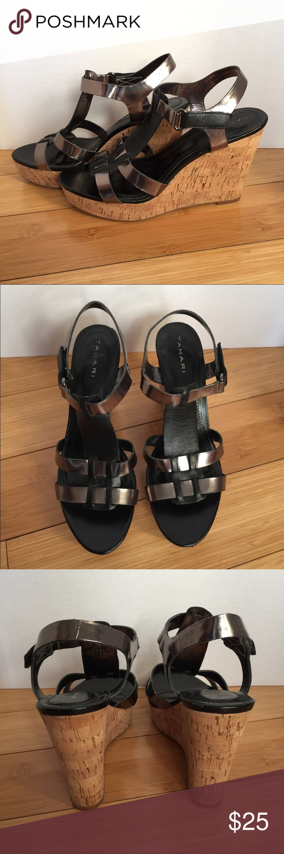 "Tahari black & pewter platform cork wedge sandals Tahari platform cork wedge sandals - Simone -Pewter and Black T-strap w/ adjustable buckle. 4 1/2"" heel; 1 1/4"" toe platform Great condition, barely worn Tahari Shoes Wedges"