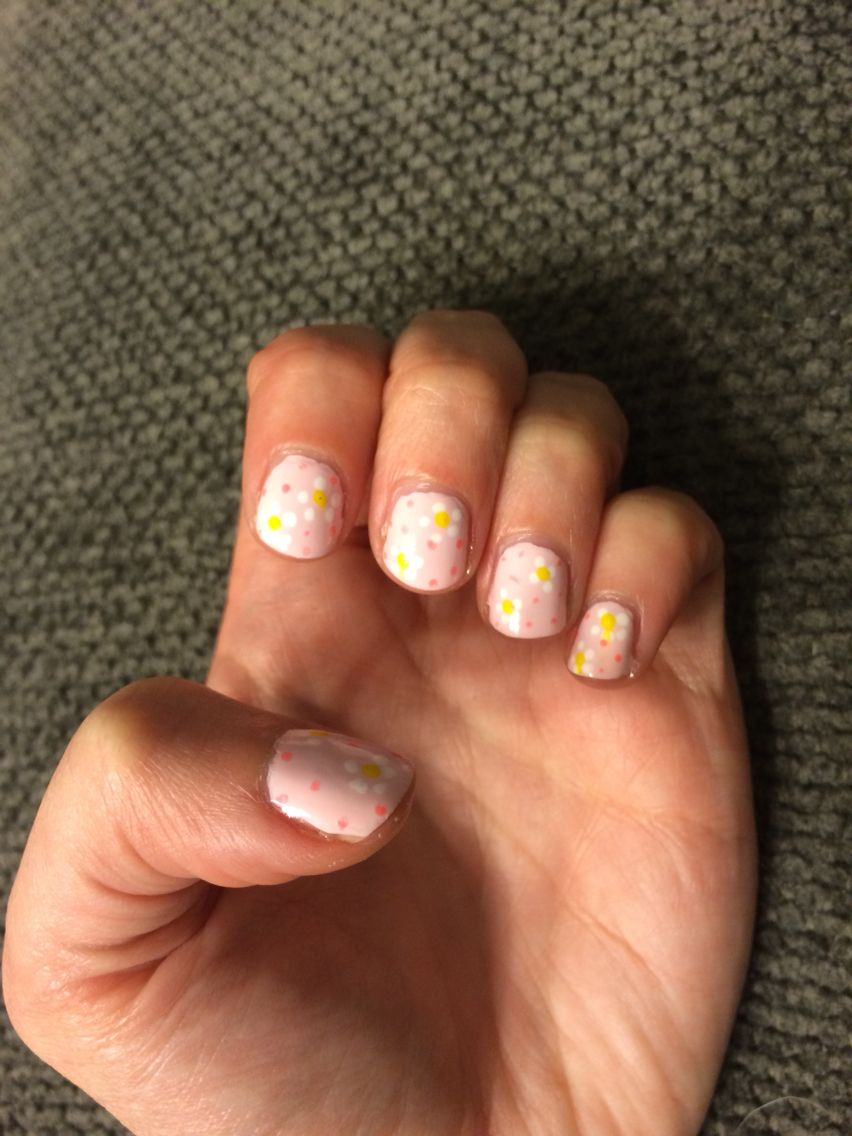 Simple flower nail design pink and white my own nail art