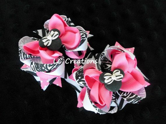 Zebra Pink Mini Minnie Mouse Inspired Pigtails by shoplccreations, $12.00