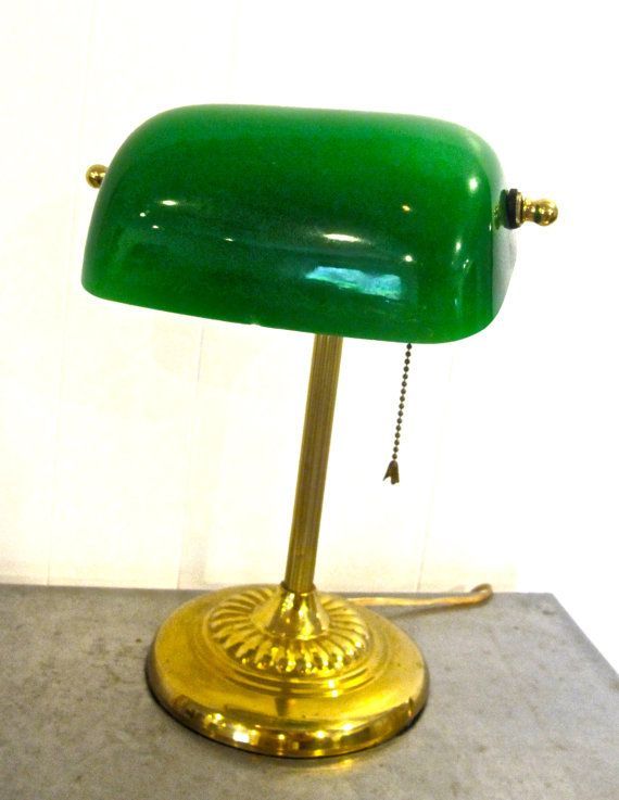 Want Etsy Listing At Https Www Etsy Com Listing 180642233 Vintage Library Lamp 1940s 50s Green Library Lamp Lamp Desk Lamp